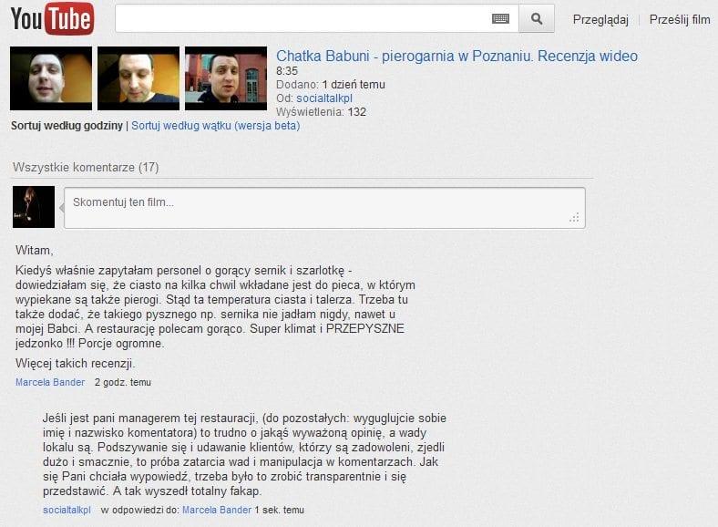 Chatka Babuni - komentarze pod recenzją na YouTube