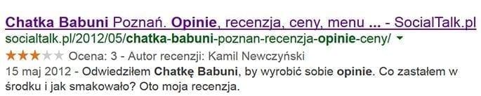 Chatka Babuni - wynik wyszukiwania w Google