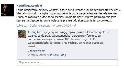 Restauracja Lubię to - komentarz na Facebooku