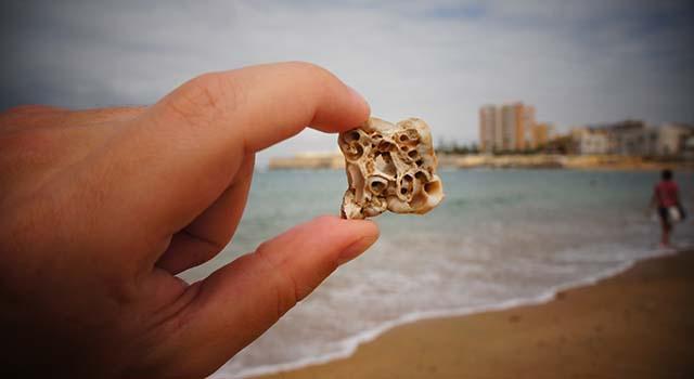 Kadyks, dziurawe kamienie na plaży